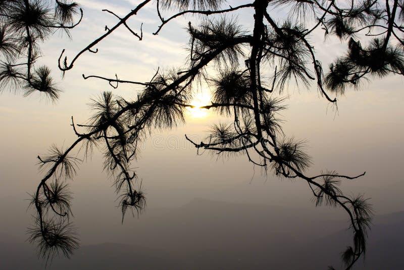 Cielo caliente después de la salida del sol en Phuru fotos de archivo