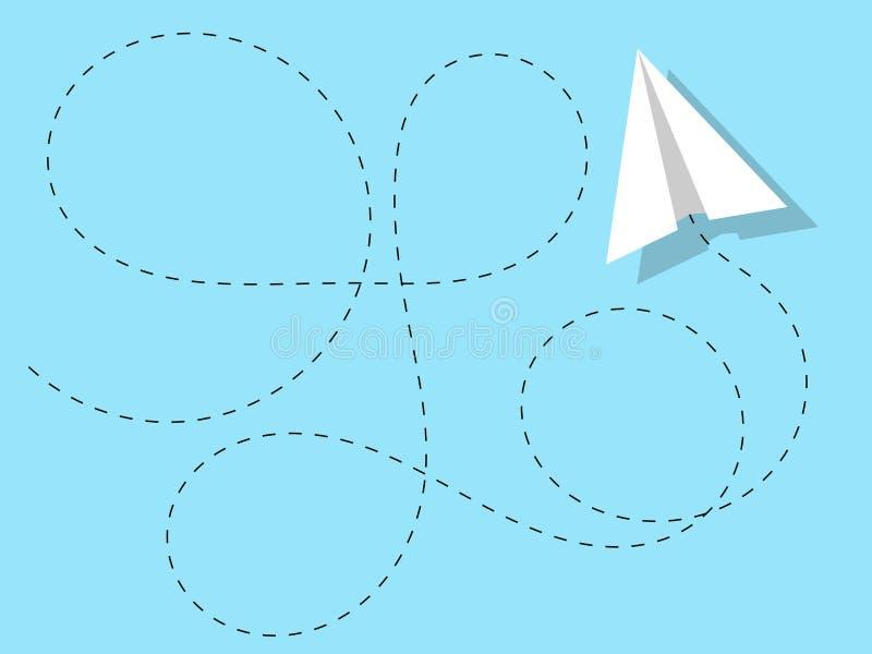 Cielo claro azul del color sólido de la trayectoria acrobática de papel del aeroplano aislado libre illustration