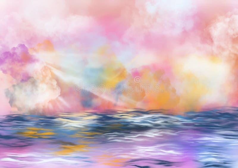 Cielo colorido con las nubes y agua libre illustration
