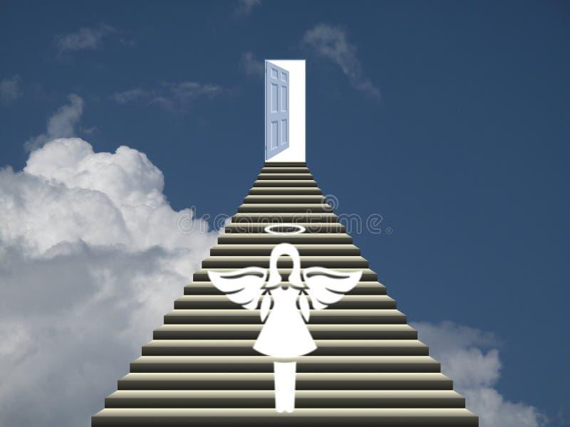 Cielo con l'angelo d'accoglienza illustrazione vettoriale