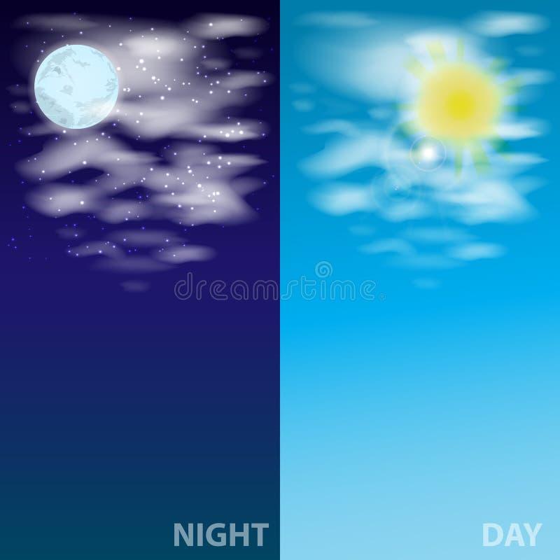 Cielo con la luna delle nuvole ed il sole Illustrazione royalty illustrazione gratis