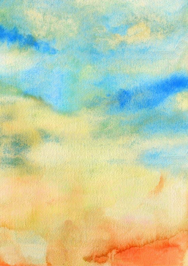 Cielo de la acuarela con textura del extracto de las nubes imágenes de archivo libres de regalías