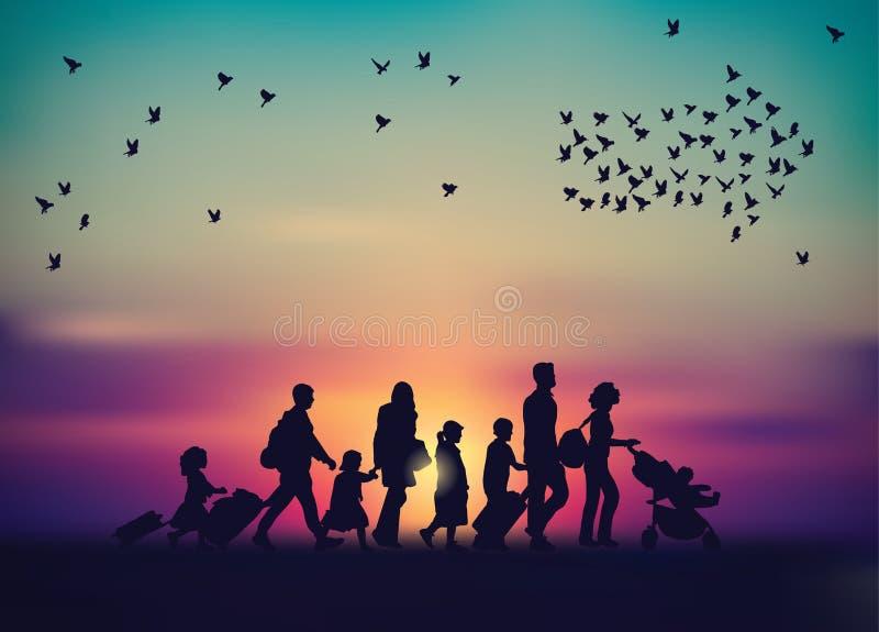 Cielo de la familia de la emigración y silueta de los pájaros stock de ilustración