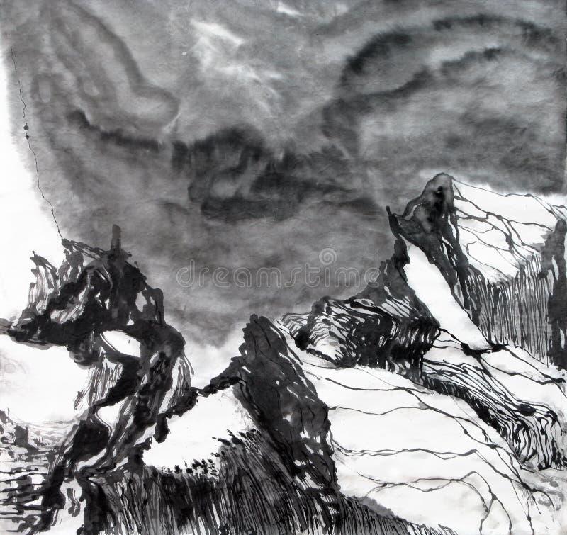 Cielo de la montaña de la tinta y de la pintura del cepillo stock de ilustración