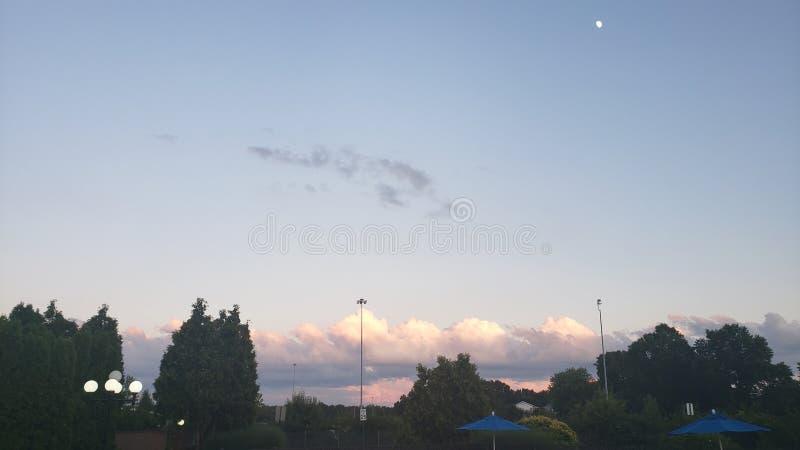 Cielo de la puesta del sol en la noche en Ohio con la luna y el árbol fotografía de archivo
