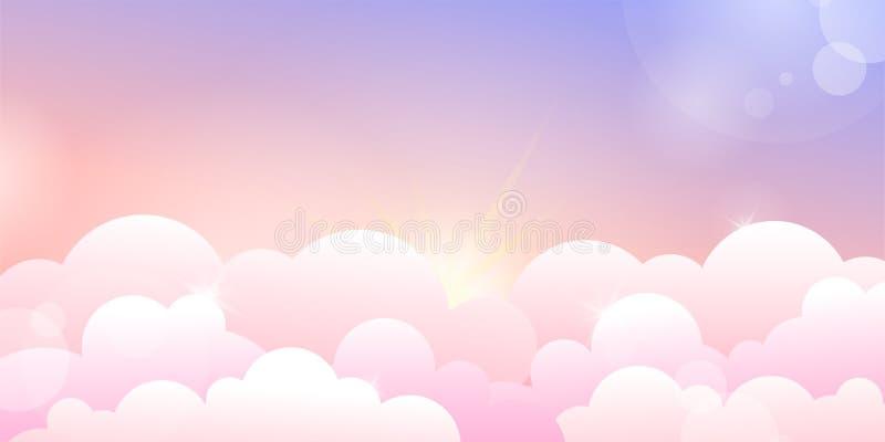 Cielo de la puesta del sol o de la salida del sol y nubes color de rosa libre illustration
