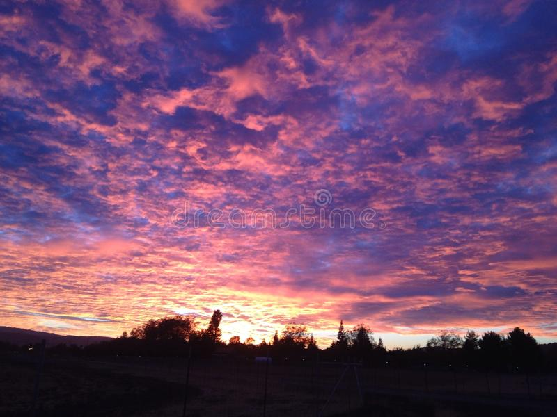 Cielo de la salida del sol del caramelo de algodón fotos de archivo libres de regalías
