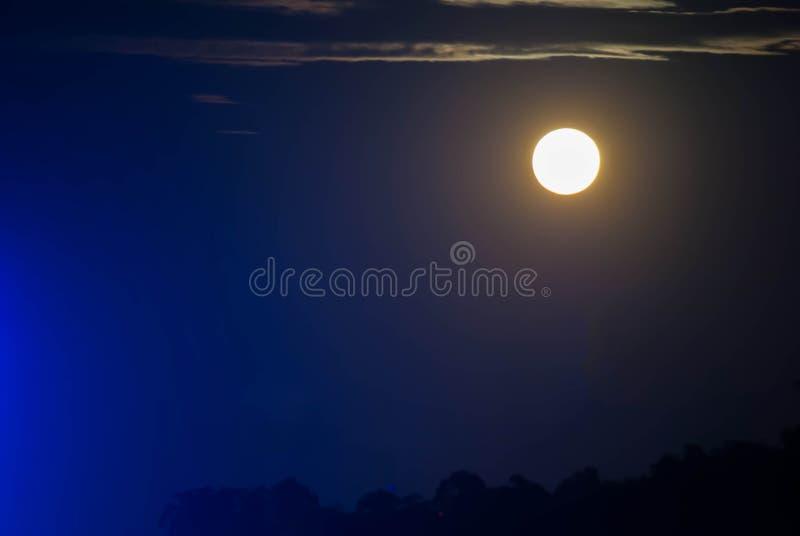 Cielo de la silueta con el claro de luna foto de archivo