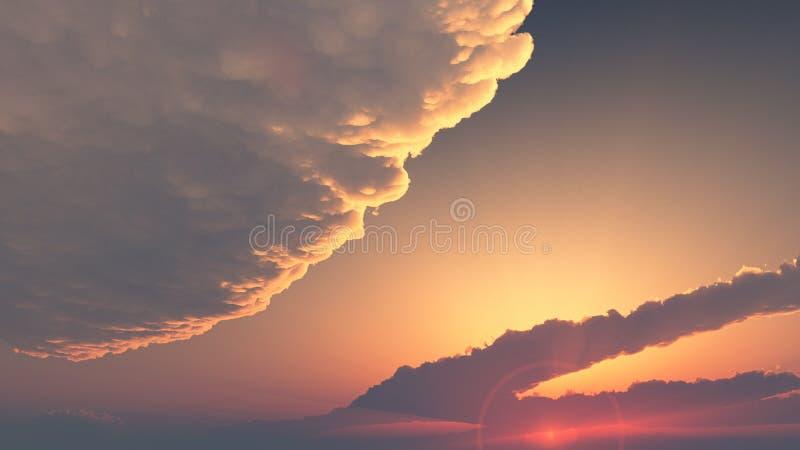 Cielo de la tarde - puesta del sol cubierta por las nubes imagen de archivo libre de regalías