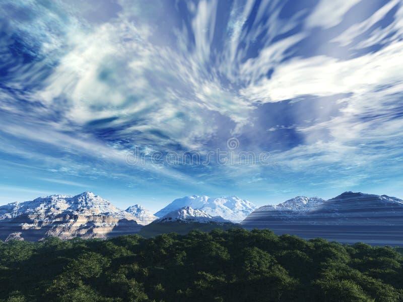 Cielo de la tormenta sobre tapas de la nieve de m foto de archivo libre de regalías
