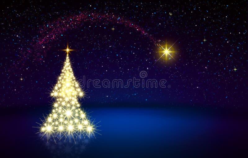 Cielo del árbol de navidad de oro y de la estrella azul La Navidad libre illustration