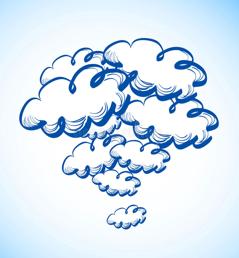 Cielo del disegno della mano con le nuvole illustrazione vettoriale
