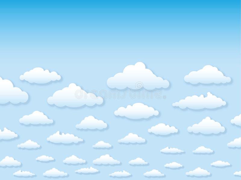 Cielo del ejemplo del vector con las nubes en pocilga de la historieta libre illustration