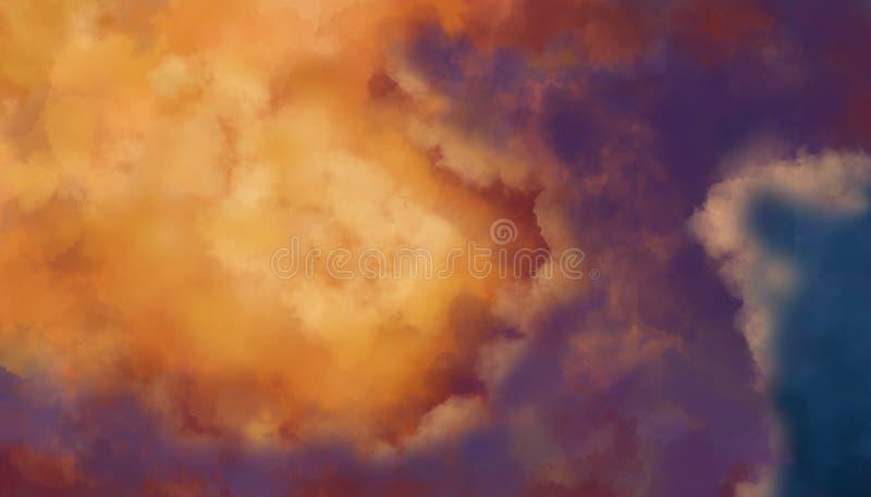 Cielo del fondo y colores vivos de las nubes foto de archivo