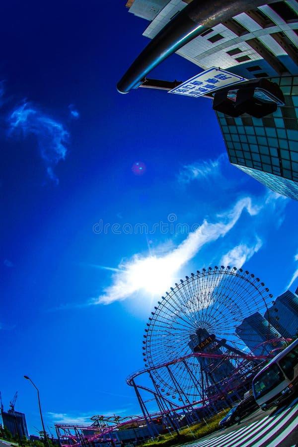 Cielo del mundo de Yokohama Cosmo y del buen tiempo fotografía de archivo libre de regalías