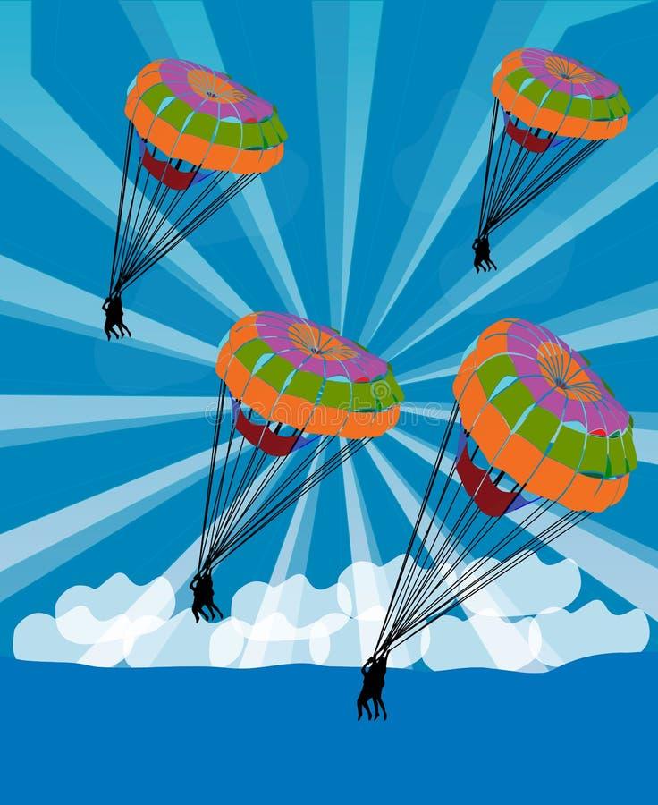 cielo del parachutist della scivolata royalty illustrazione gratis