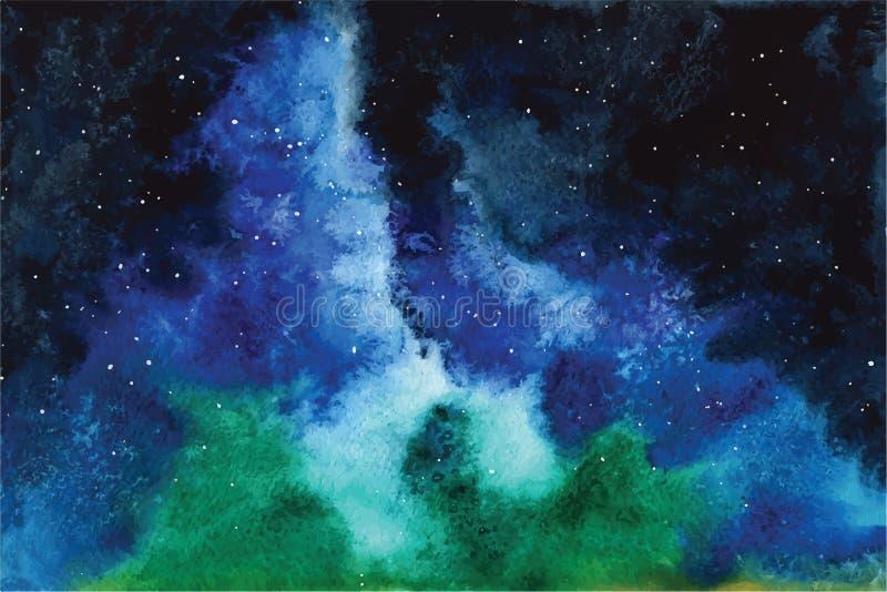 Cielo dell'universo di vettore dell'acquerello, stelle, spazio profondo viola, blu, fondo di fantasia illustrazione vettoriale