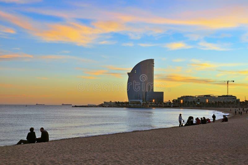 Cielo della vaniglia di Barceloneta fotografia stock libera da diritti