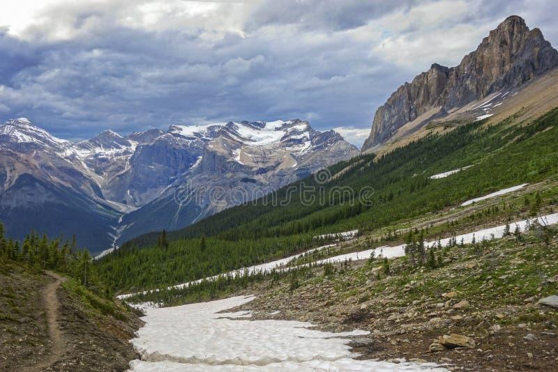 Cielo di Cloudscape e paesaggio tempestosi della montagna in Yoho National Park Canadian Rockies immagini stock libere da diritti
