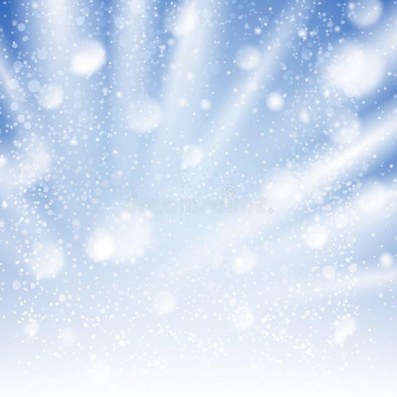 Cielo di inverno del vento con l'illustrazione di nevicata illustrazione vettoriale