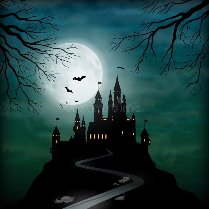 Cielo di luce della luna del castello di vettore di fantasia illustrazione di stock