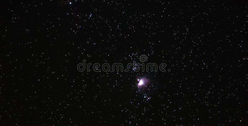 Cielo di notte con la nebulosa di Orione fotografia stock libera da diritti