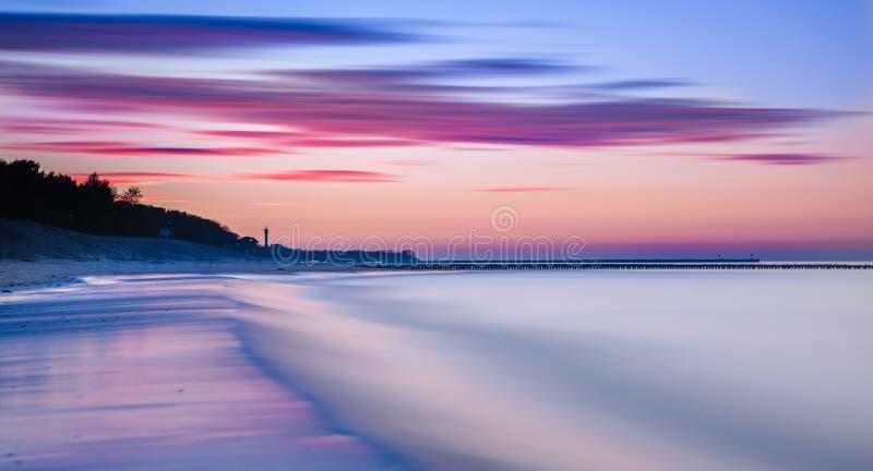 Cielo di tramonto dell'oceano - cielo crepuscolare di panorama splendido e fondo pacifico dell'acqua fotografia stock libera da diritti