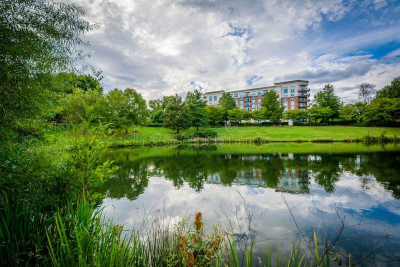 Cielo dramático sobre el lago en el parque de la sinfonía, en Charlotte, del norte imagen de archivo libre de regalías