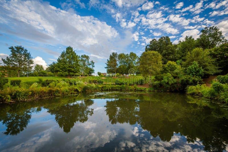 Cielo dramático sobre el lago en el parque de la sinfonía, en Charlotte, del norte fotos de archivo libres de regalías