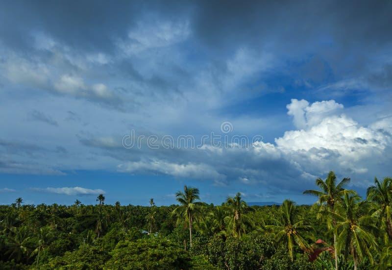 Cielo drammatico sopra l'isola esotica di Danao immagini stock libere da diritti