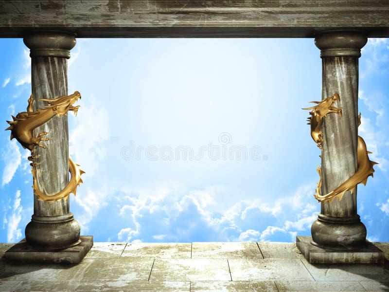 Cielo e draghi illustrazione di stock