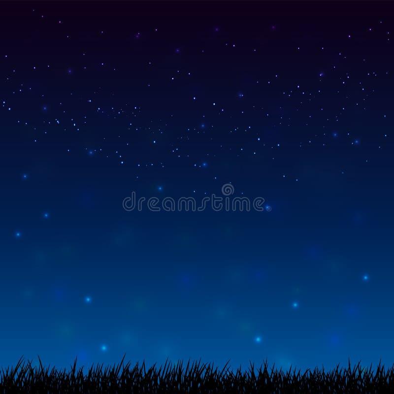 Cielo estrellado de la noche y fondo oscuro del silhoutte de la tierra de la hierba ilustración del vector