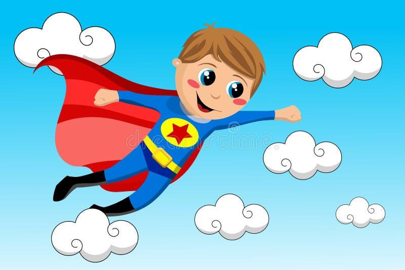 Cielo felice di volo del bambino del supereroe illustrazione vettoriale