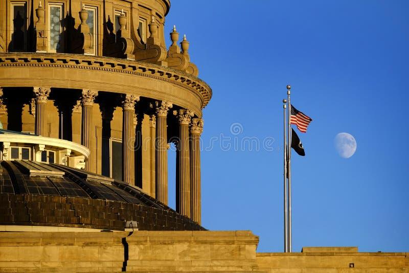 Cielo legal de la luna de las leyes de la bóveda del gobierno del edificio del capitolio del estado de Idaho imagen de archivo libre de regalías