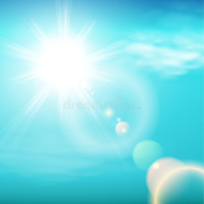 Cielo mágico con las estrellas y los rayos de la luz brillantes stock de ilustración