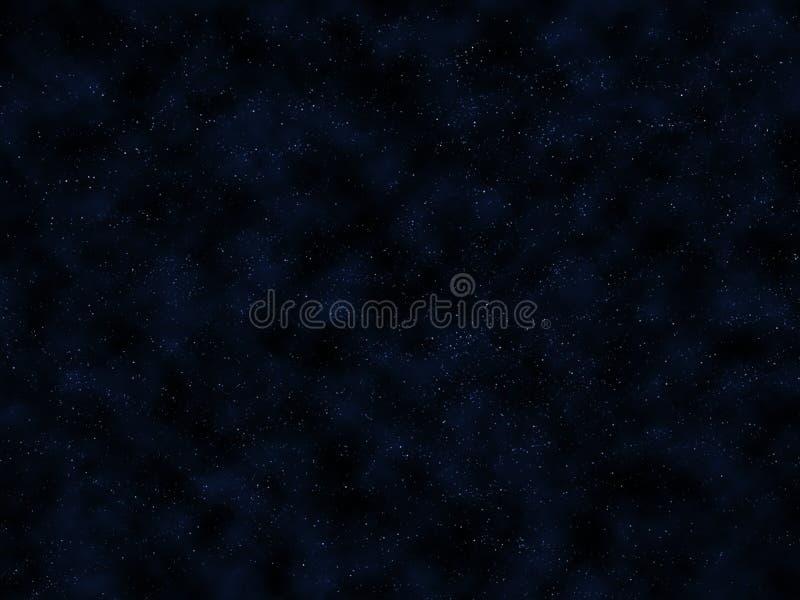 Cielo nocturno azul marino con las estrellas y las nubes brillantes imagenes de archivo