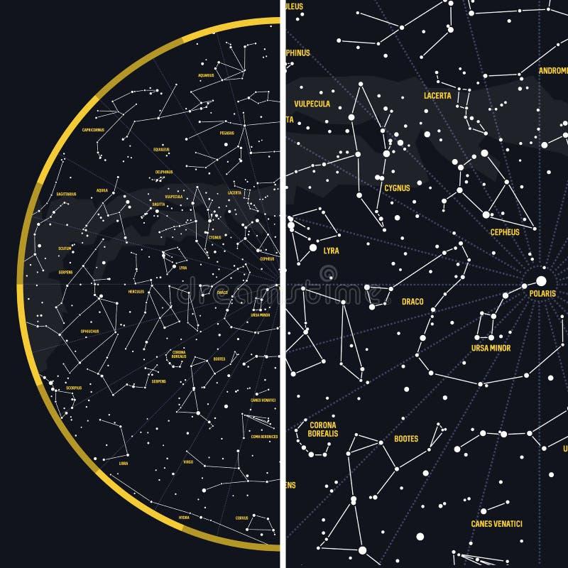 Cielo nocturno con constelaciones ilustración del vector