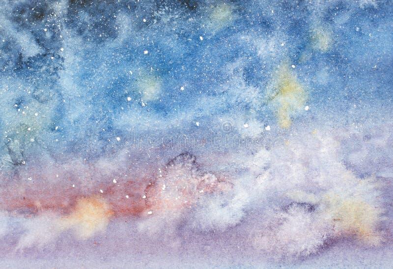 Cielo nocturno con la acuarela dibujada mano de las estrellas ilustración del vector