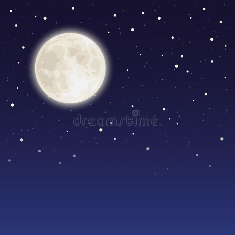 Cielo nocturno con la Luna Llena y las estrellas Ilustración del vector ilustración del vector