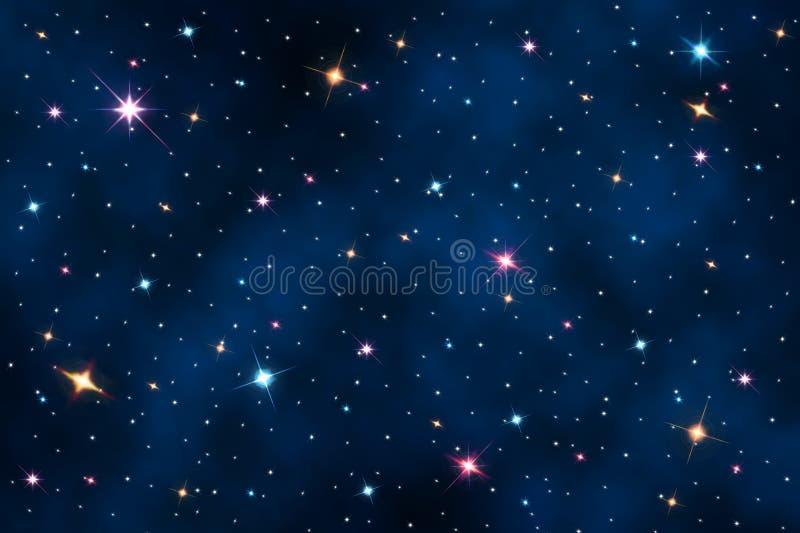 Cielo nocturno con las estrellas ilustración del vector