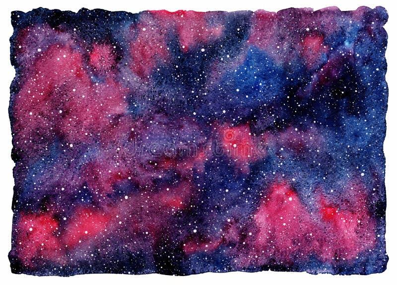 Cielo nocturno con las estrellas, fondo cósmico colorido de la acuarela ilustración del vector