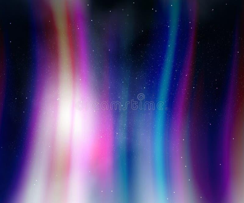 Cielo nocturno con las luces de la aurora ilustración del vector