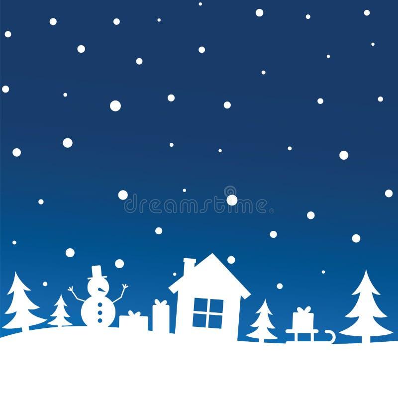 Cielo nocturno con las nevadas sobre árboles, casa, muñeco de nieve, trineo del invierno con el regalo de la Navidad Año Nuevo y  libre illustration