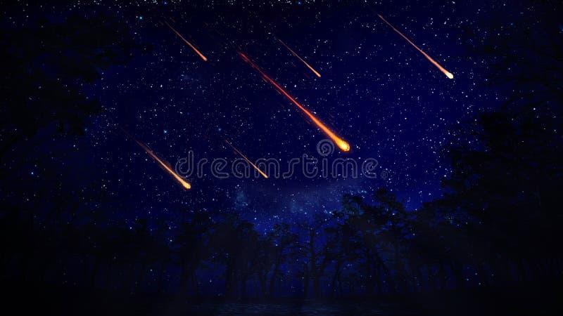 Cielo nocturno con una lluvia de meteoritos ilustración del vector