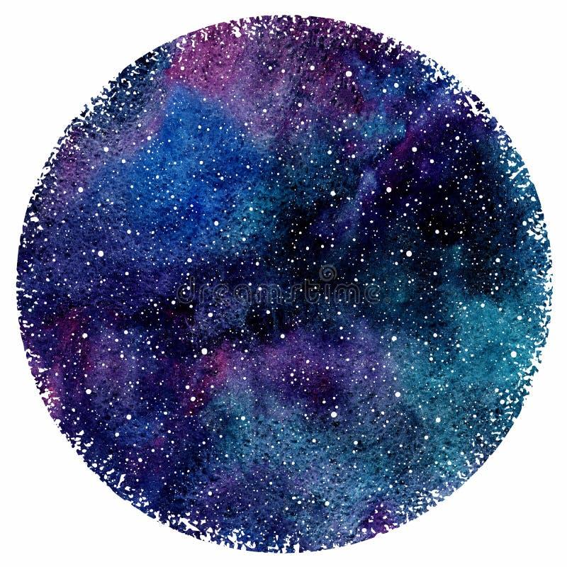 Cielo nocturno de la acuarela con las manchas y las estrellas coloridas ilustración del vector