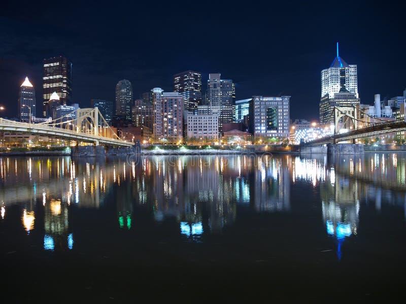 Cielo nocturno de Pittsburgh foto de archivo