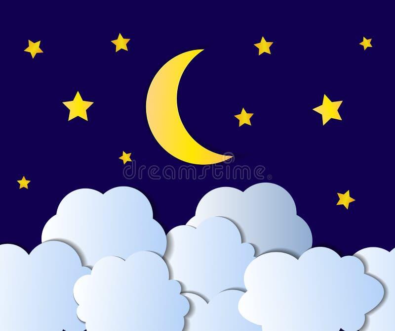 Cielo nocturno del vector, ejemplo de la historieta, fondo, luna amarilla brillante, estrellas y nubes blancas brillando en azul ilustración del vector
