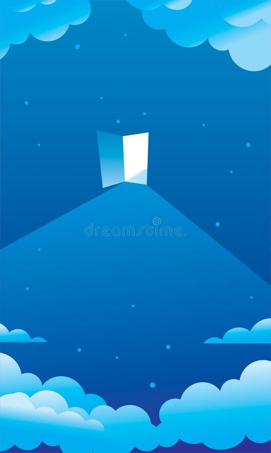 Cielo nocturno estrellado azul y una puerta foto de archivo