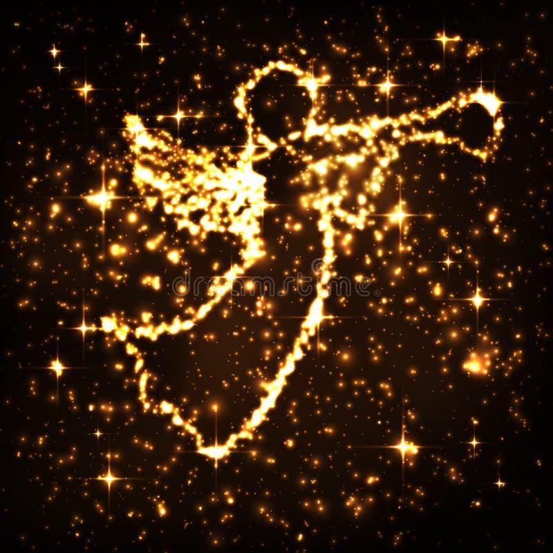 Cielo nocturno que brilla intensamente de oro abstracto con símbolo del niño de Cristo ilustración del vector