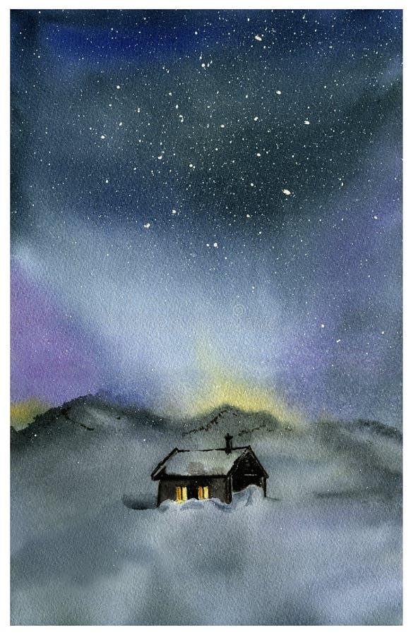 Cielo nocturno y casa de la acuarela ilustración del vector